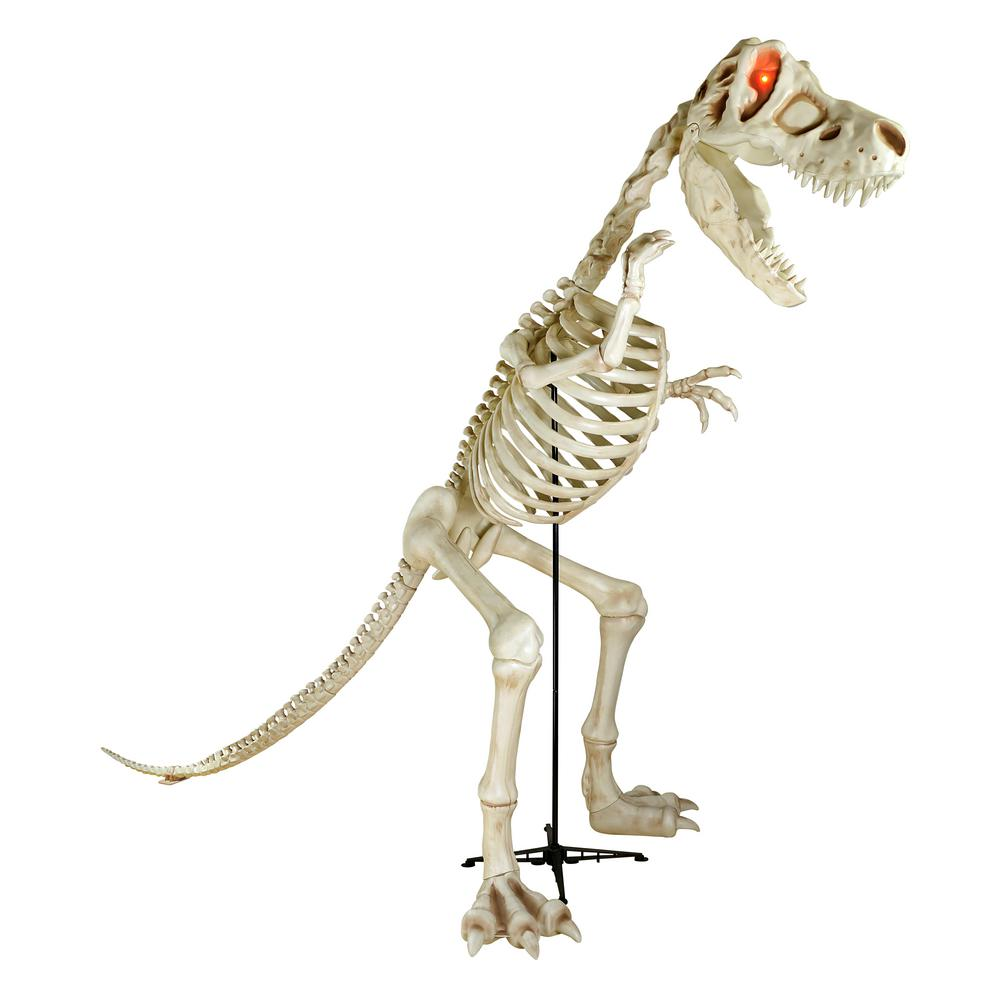 Home Accents Holiday 9 ft  Standing Skeleton T-Rex Dinosaur with LED  Illuminated Eyes