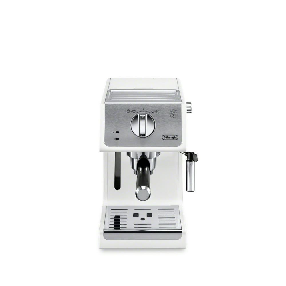 4-Cup 15-Bar White Espresso Machine and Cappuccino Maker with Advanced Cappuccino System