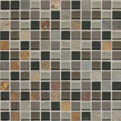 Slate Radiance Flint 12 in. x 12 in. x 8 mm Glass and Stone Mosaic Blend Wall Tile (1 sq. ft. / piece)