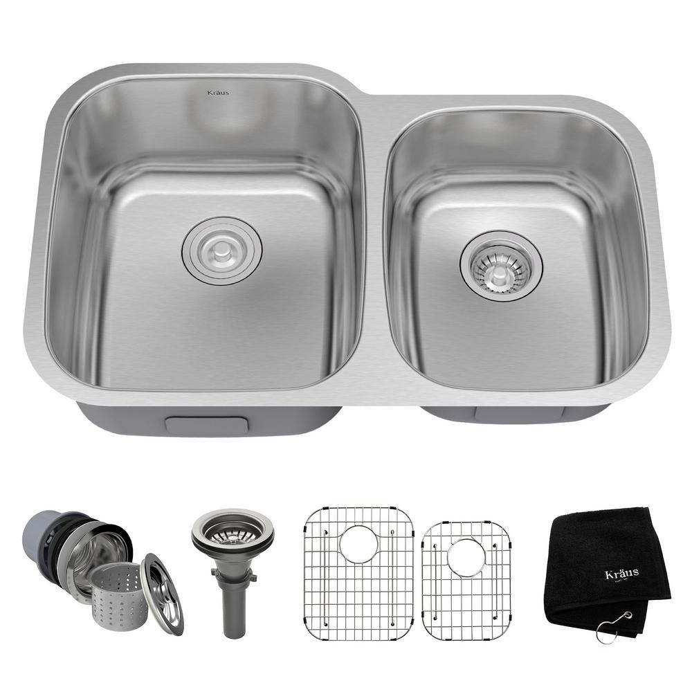 KRAUS Undermount Stainless Steel 32 in. Double Bowl Kitchen Sink Kit ...