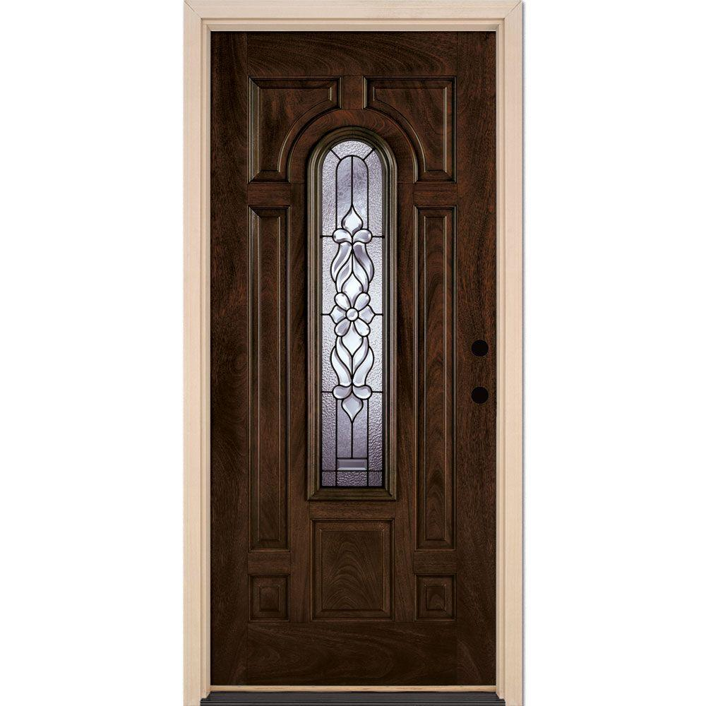 37.5 in. x 81.625 in. Lakewood Patina Center Arch Lite Stained