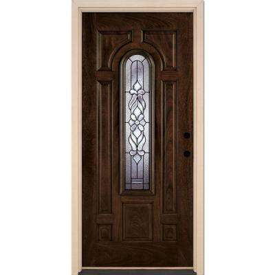 37.5 in. x 81.625 in. Lakewood Patina Center Arch Lite Stained Chestnut Mahogany Left-Hand Fiberglass Prehung Front Door