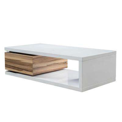 Rectangular Glossy White and Wood Brown Rotatable Coffee Table
