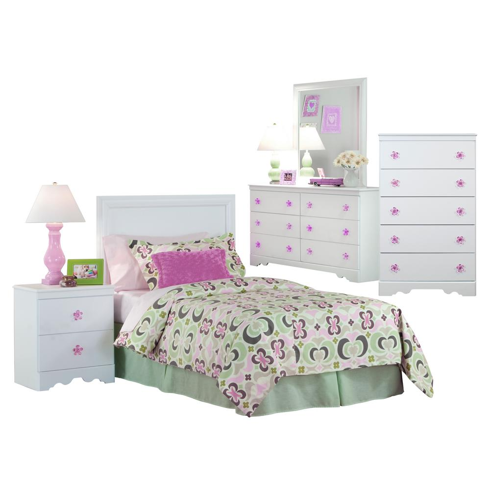 American Furniture Classics 6-Piece White Bedroom with Pink ...