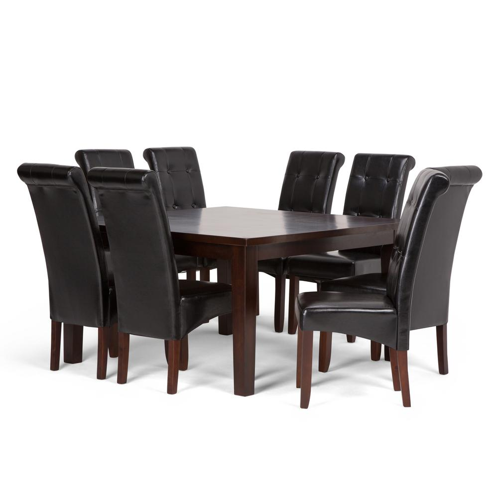Cosmopolitan 9 Piece Dining Set With 8 Upholstered Chairs In Midnight Black Faux Leather And 54 Wide Table