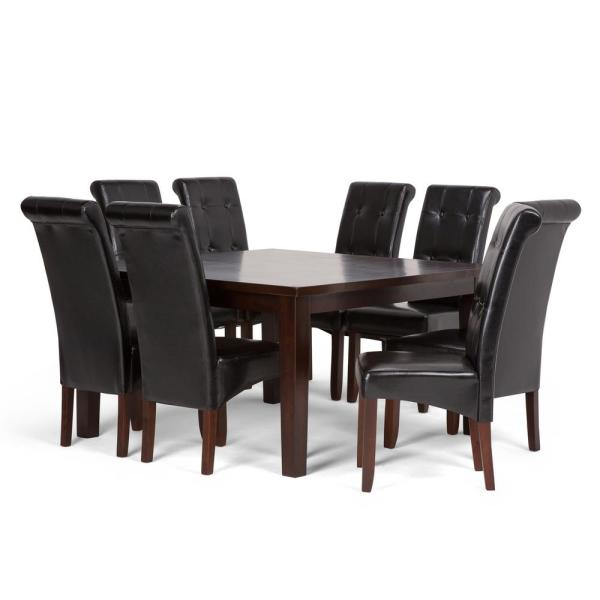 Tripton Extra Large Upholstered Bench: Simpli Home Cosmopolitan 9-Piece Dining Set With 8
