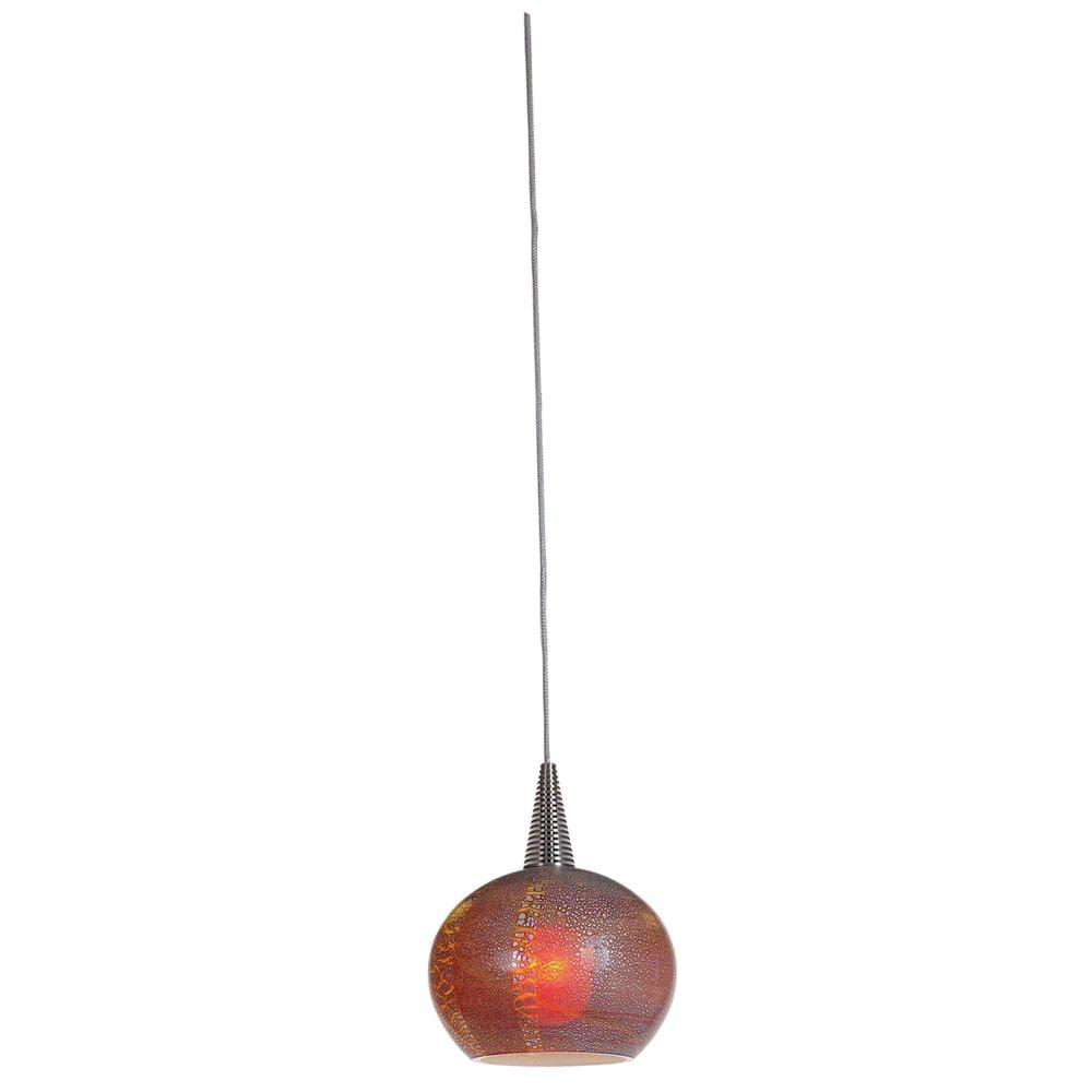 Access Lighting 1-Light Pendant Brushed Steel Finish Silver Amber Opaline Glass-DISCONTINUED