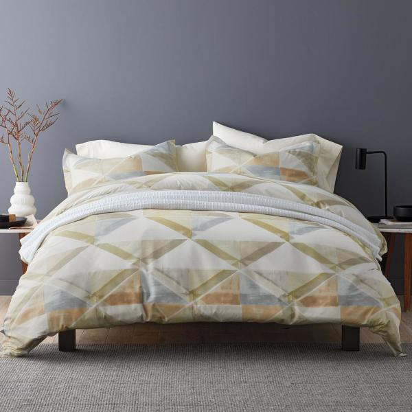 LoftHome Geometry Multicolored Cotton Percale Queen Duvet Cover