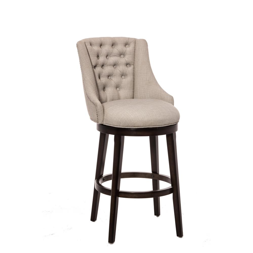 Hillsdale Furniture Halbrooke 24 In Chocolate And Cream Swivel Counter Stool 5993 826 The Home Depot