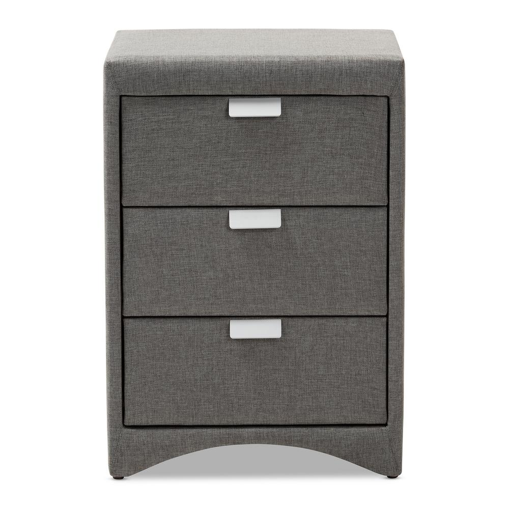 Talia 3-Drawer Gray Nightstand