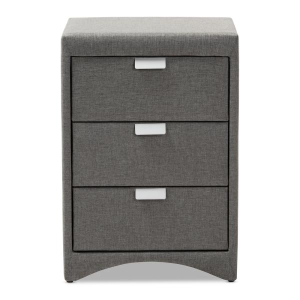 Baxton Studio Talia 3-Drawer Gray Nightstand 147-8165-HD