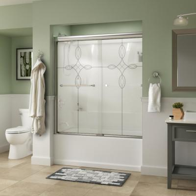 Everly 60 in. x 58-1/8 in. Traditional Semi-Frameless Sliding Bathtub Door in Chrome and 1/4 in. (6mm) Tranquility Glass