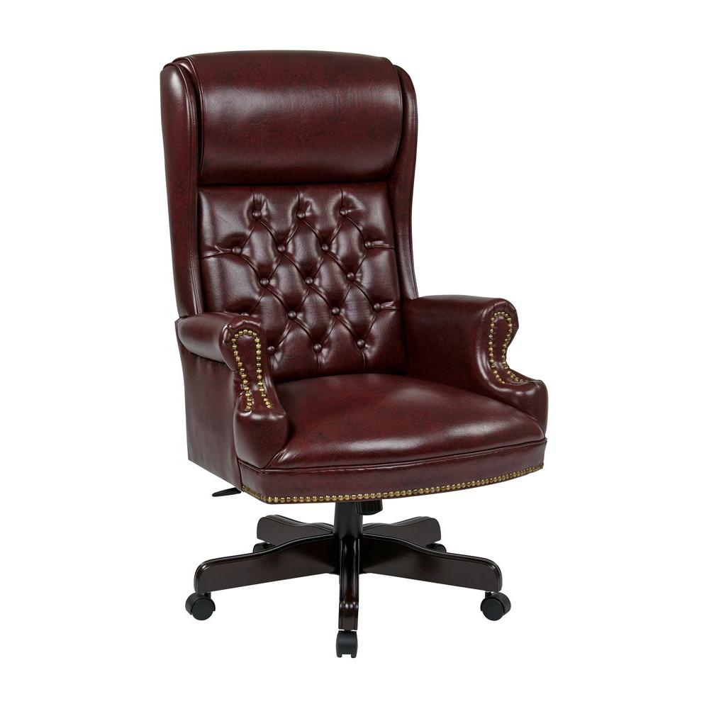 Executive Office Furniture: Work Smart Oxblood Vinyl High Back Executive Office Chair