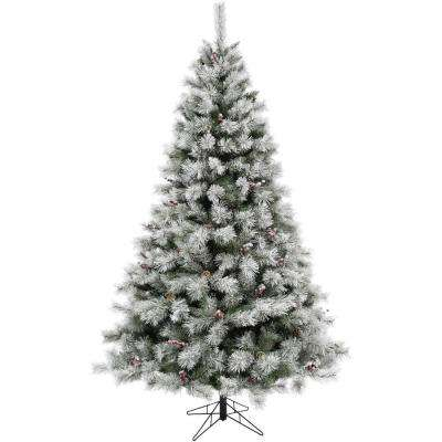 7.5 ft. Homestead Pine Frosted Christmas Tree with Pinecones and Berries and Metal Stand