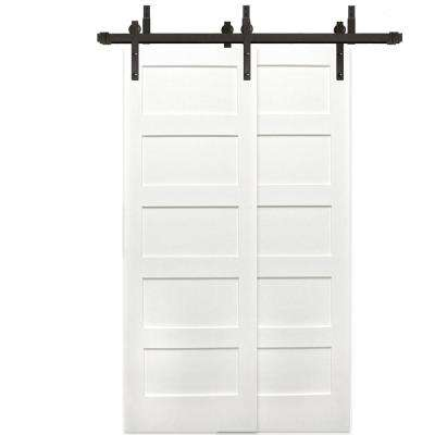 48 in. x 80 in. Bypass Unfinished 5-Panel Solid Core Primed Pine Wood barn Door with Bronze Sliding Door Hardware Kit
