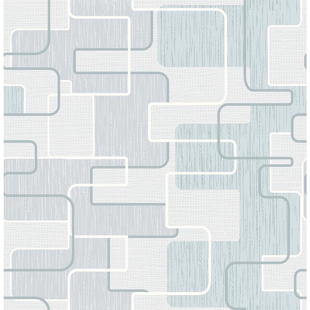 Brewster Integrate Blue Geometric Wallpaper