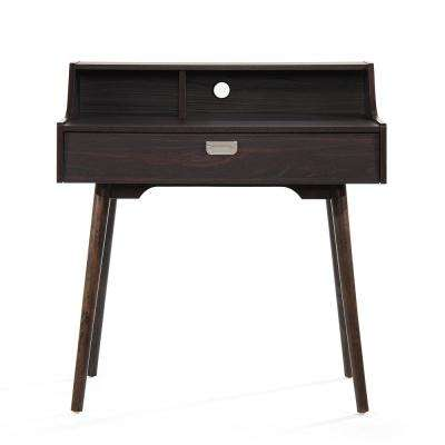 Ellison Mid-Century Modern Walnut Brown Fiberboard Home Office Desk