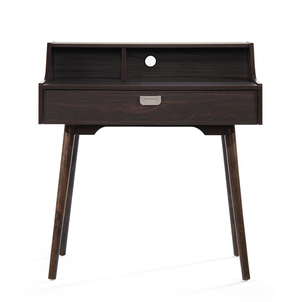 Ellison Mid-Century Modern Walnut Brown Fiberboard Home Office Desk