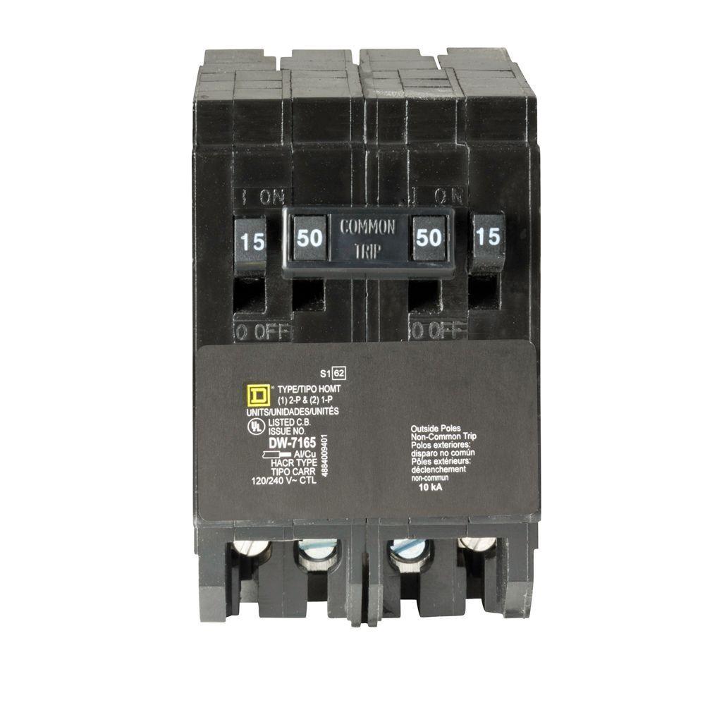 Homeline (2) 15 Amp Single-Pole (1) 50 Amp 2-Pole Quad Tandem Circuit Breaker