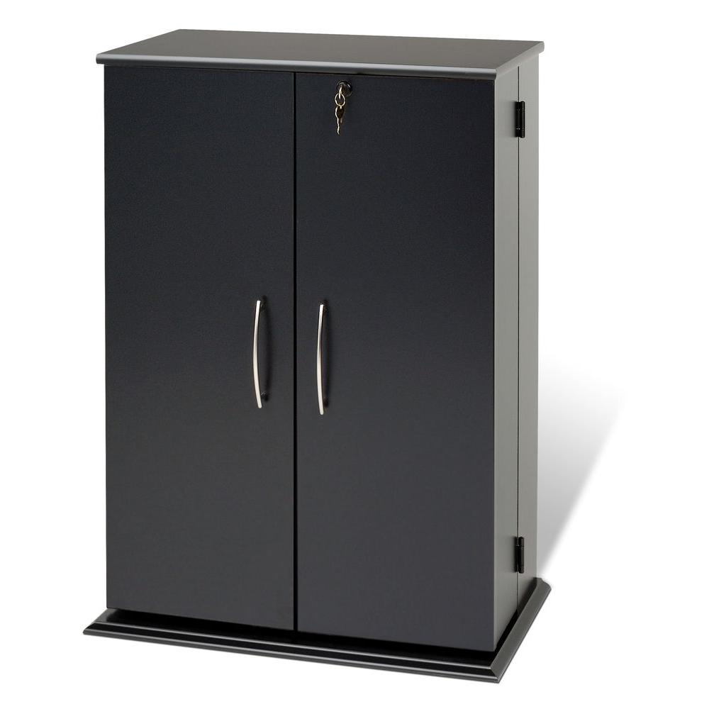 Prepac Black Media Storage Have your media collection out of sight but close at hand with our Locking Media Storage Cabinet. With doors that lock and allow 180° movement, you can access your collection just as easily as you can keep it out of view and reach. This cabinet will accommodate your collection thanks to its fully adjustable shelves, and its horizontal storage makes organizing and re-sorting a snap. It's the perfect addition to your family room. Color: Black.