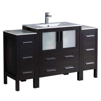 Torino 54 in. Bath Vanity in Espresso with Ceramic Vanity Top in White with White Basin
