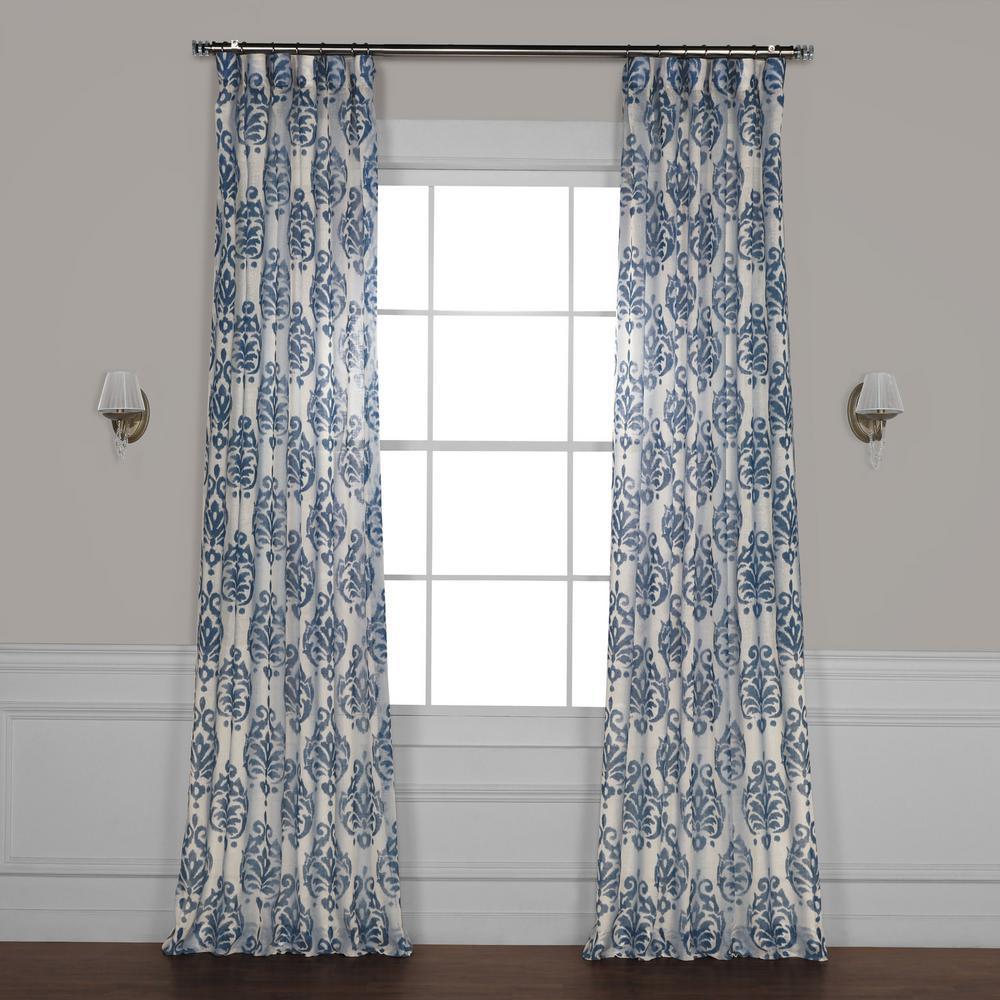 Fresco Blue Printed Sheer Curtain - 50 in. W x 84 in. L