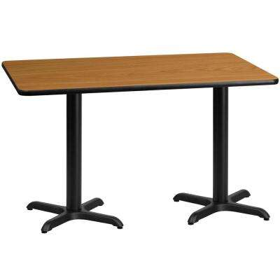 30 in. x 60 in. Rectangular Natural Laminate Table Top with 22 in. x 22 in. Table Height Bases