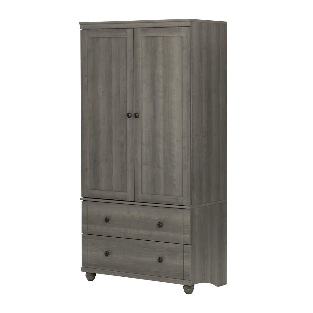 South Shore Hopedale Gray Maple Armoire-10325 - The Home Depot