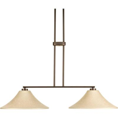 Joy Collection 2-Light Antique Bronze Chandelier with Etched Umber Linen Glass