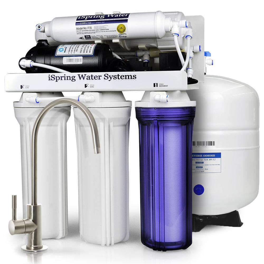 6-Stage with Booster Pump and UV Sterilizer 100GPD Under Sink Reverse
