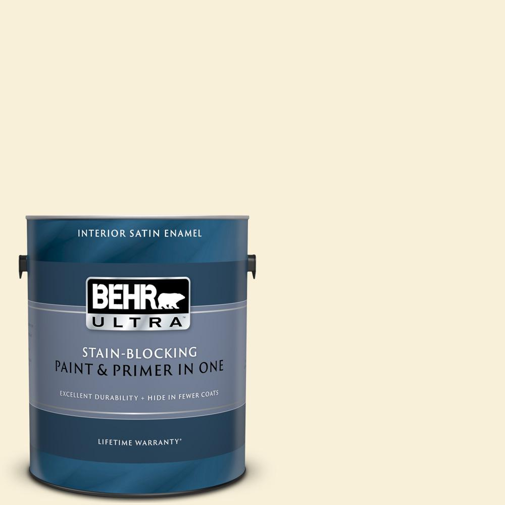 Behr Ultra 1 Gal 390c 1 Capri Cream Satin Enamel Interior Paint And Primer In One 775001 The Home Depot