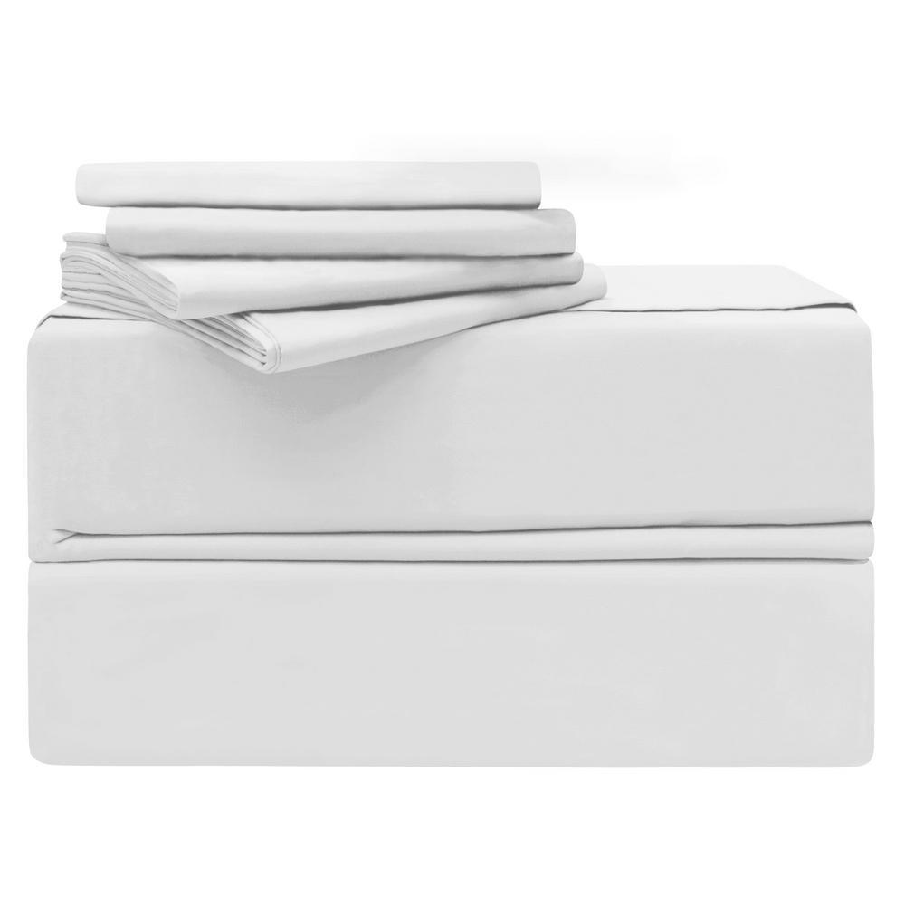 Luxury Queen 6-Piece White 620-Thread Count 100% Cotton Sheet Set