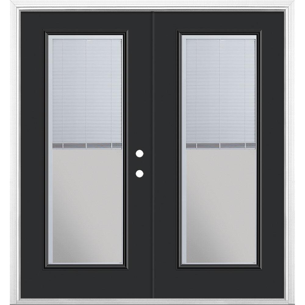 72 in. x 80 in. Jet Black Steel Prehung Left-Hand Inswing Mini Blind Patio Door in Vinyl Frame with Brickmold