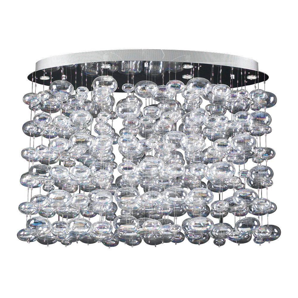 6-Light Polished Chrome Pendant with Iridescent Glass Shade