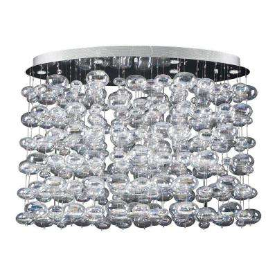 6-Light Polished Chrome Pendant with Iridescent Glass Shade