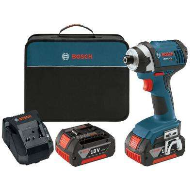 18 Volt Lithium-Ion Cordless 1/4 in. Hex Compact Tough Impact Driver with (2) 4.0Ah Batteries