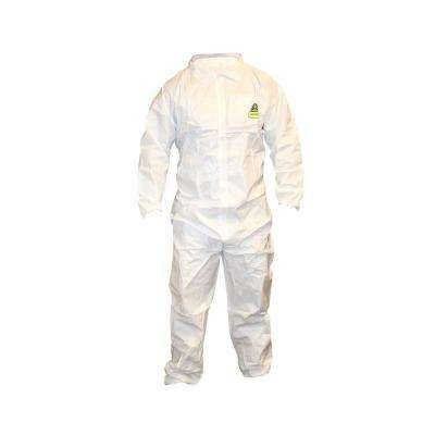 Defender II White Male Large Coveralls with Collar
