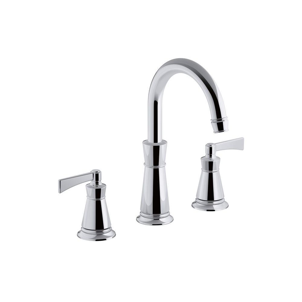 Kohler archer single hole 2 handle high arc bathroom faucet trim kit in polished chrome valve for Kohler bathroom single hole faucets
