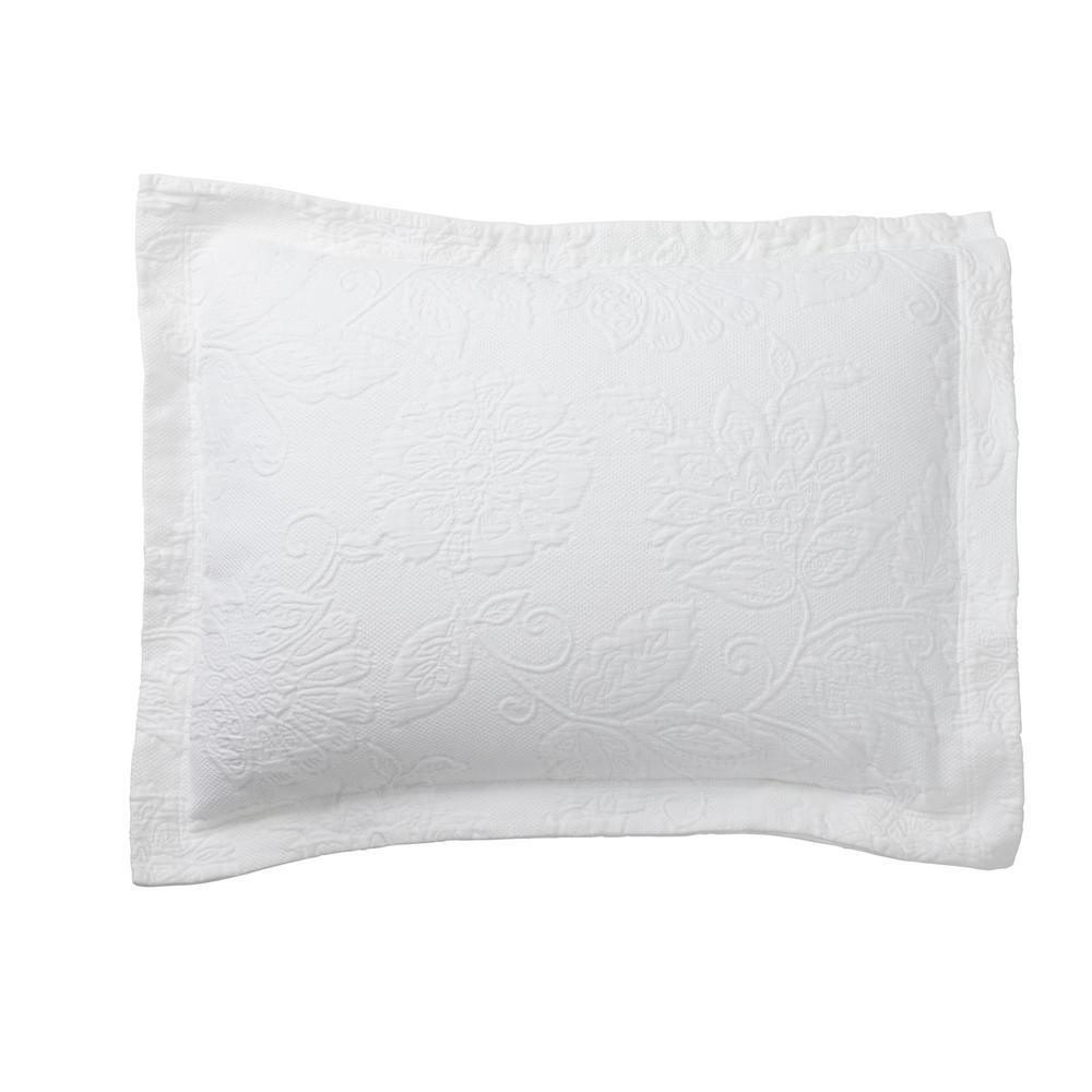 The Company Store Putnam Matelasse White Cotton King Sham 50170f K White The Home Depot