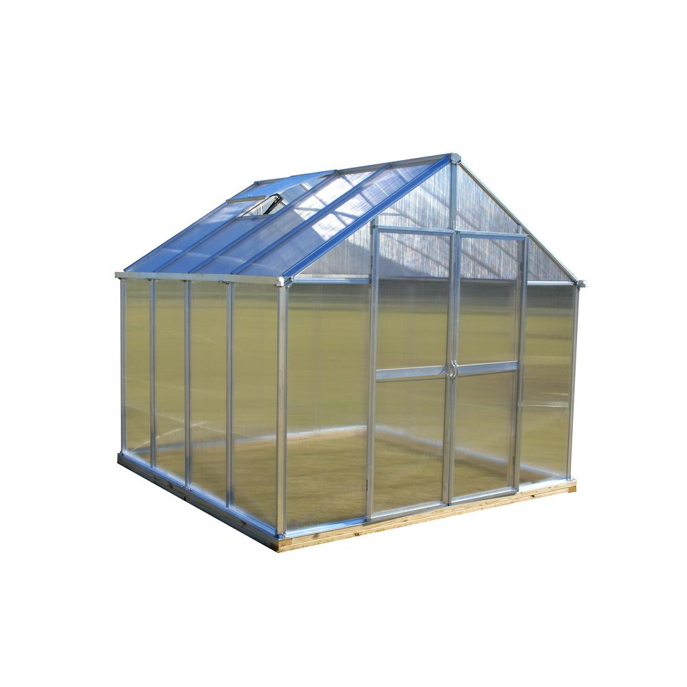 Monticello 8 ft. x 8 ft. Aluminum Finish Quick Assembly Greenhouse