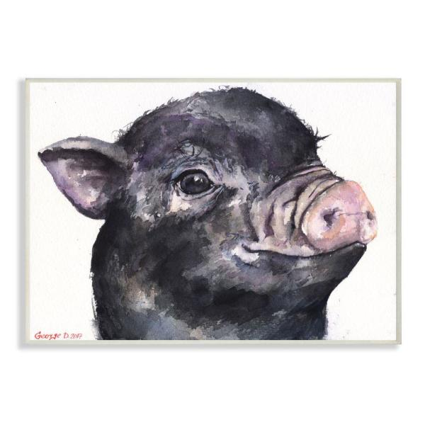 12 in. x 18 in. ''Cute Pig Baby'' by George Dyachenko Wood Wall Art
