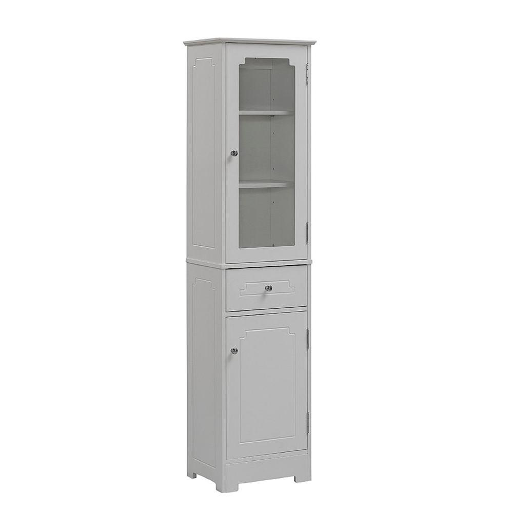 Runfine 16 In W X 64 In H X 12 In D Wood Bathroom Linen Storage