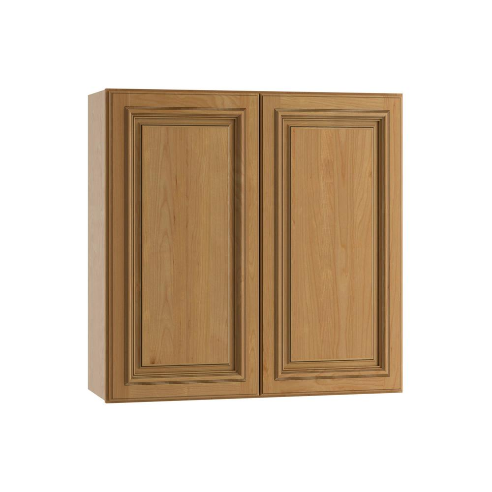 Home Decorators Collection Clevedon Assembled 36x30x12 in. Wall Cabinet with 2 Doors in Toffee Glaze