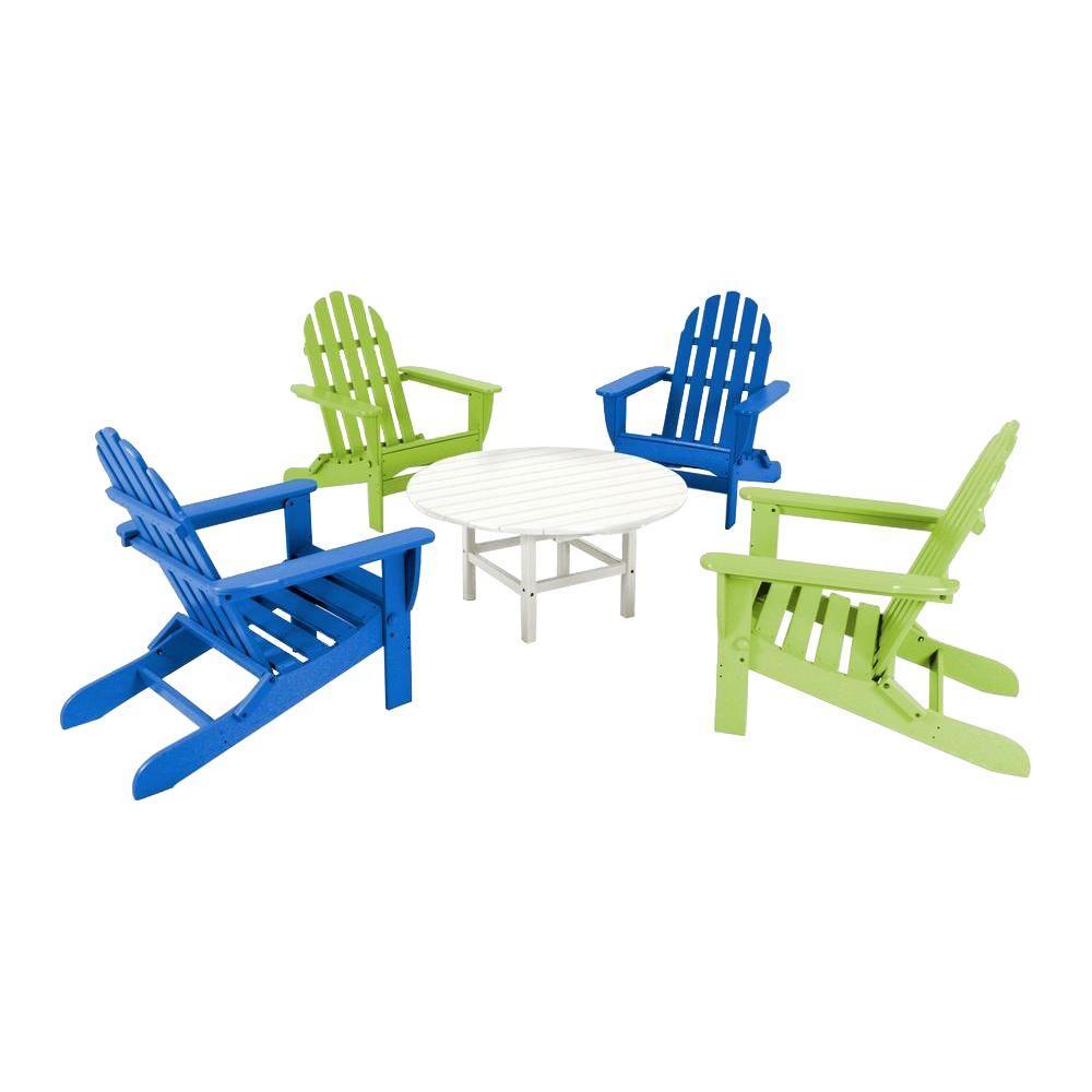 Classic Pacific Blue/Lime 5-Piece Folding Adirondack Patio Conversation Group Set