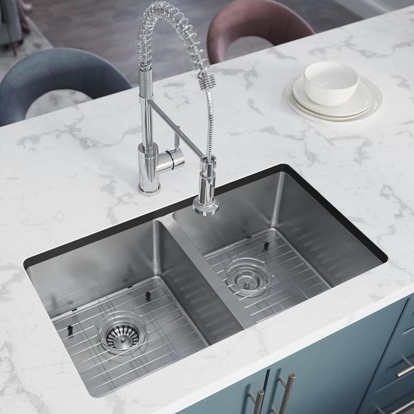 Stainless Steel 31 in. Double Bowl Undermount Kitchen Sink with Black SinkLink and additional accessories