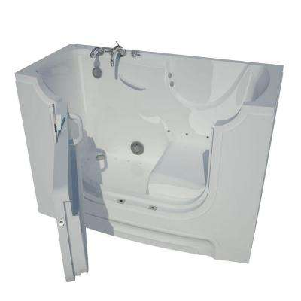 5 ft. Left Drain Wheel Chair Accessible Air Bath Tub in White