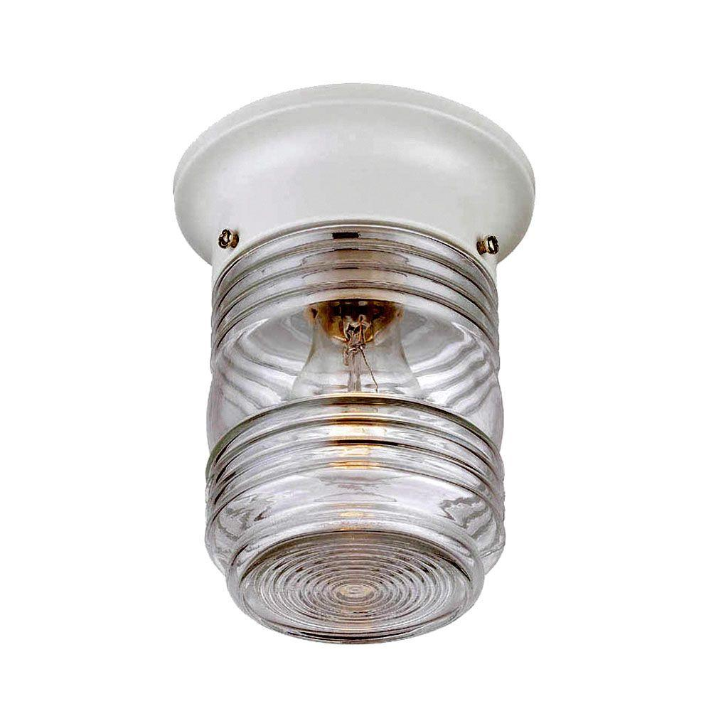 Acclaim Lighting Builderu0027s Choice Collection Ceiling Mount 1 Light White Outdoor  Light Fixture