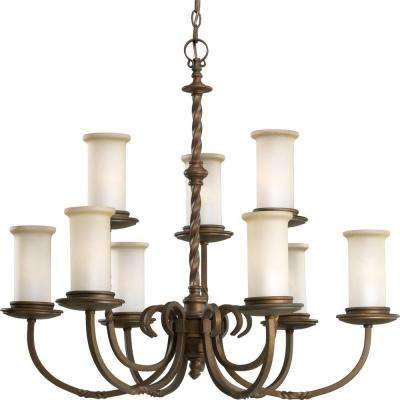 Santiago Collection 9-Light Roasted Java Chandelier with Jasmine Mist Glass