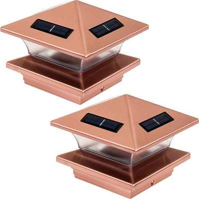 4 in. x 4 in. Solar Powered Integrated LED Copper Plated Plastic Post Cap Light for Nominal Wood Posts (2-Pack)