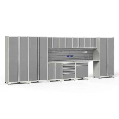 Pro Series 3.0 85.25 in. H x 220 in. W x 24 in. D 18-Gauge Steel Cabinet Set in Platinum (12-Piece)